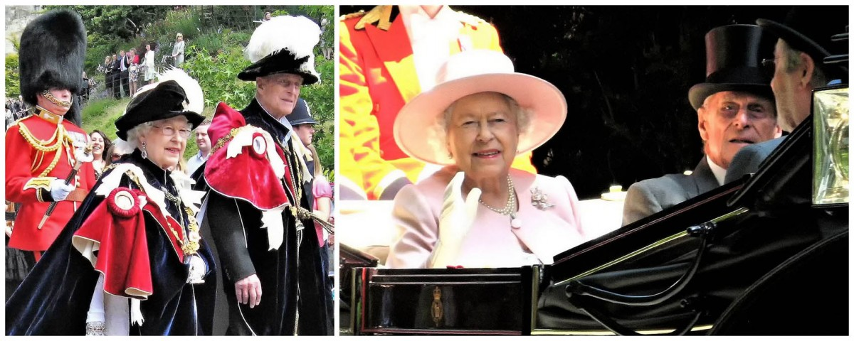 Her Majesty and Prince Philip at Garter Day at Windsor Castle in 2012, and on their way to Royal Ascot in 2014