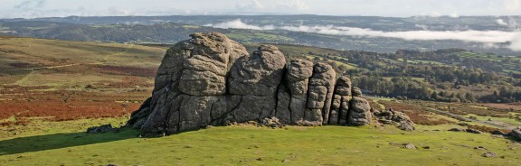 Haytor with the South Devon coast in the background