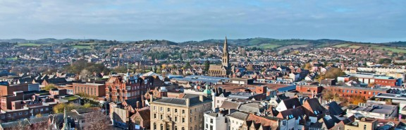 The city of Exeter in Devon