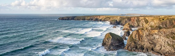 The view over Bedruthan Steps in North Cornwall