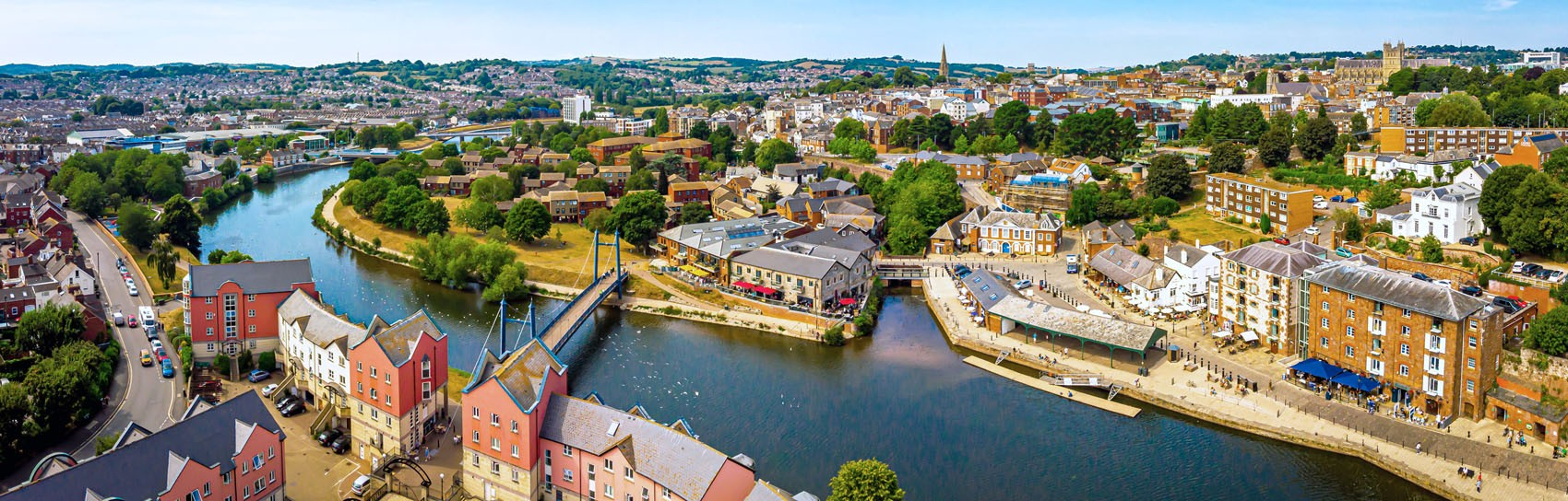 An aerial view of Exeter Quay and the River Exe. Photograph by ALEXEY FEDORENKO